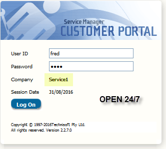 Service Manager Customer Portal: Open 24/7!